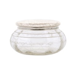 Small English 1920s Glass Vanity Jar with Incised Silver Lid and Etched Design