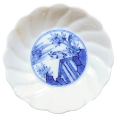 Small English 19th Century Blue and White Porcelain Plate with Bird and Trees