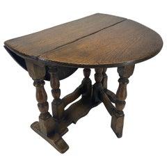 Small English 19th Century Gate Leg Drop Leaf Oak Table Salesman Sample