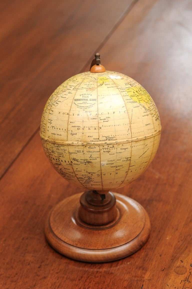 Small English 20th Century George Philip Terrestrial Globe on Wooden Base For Sale 9