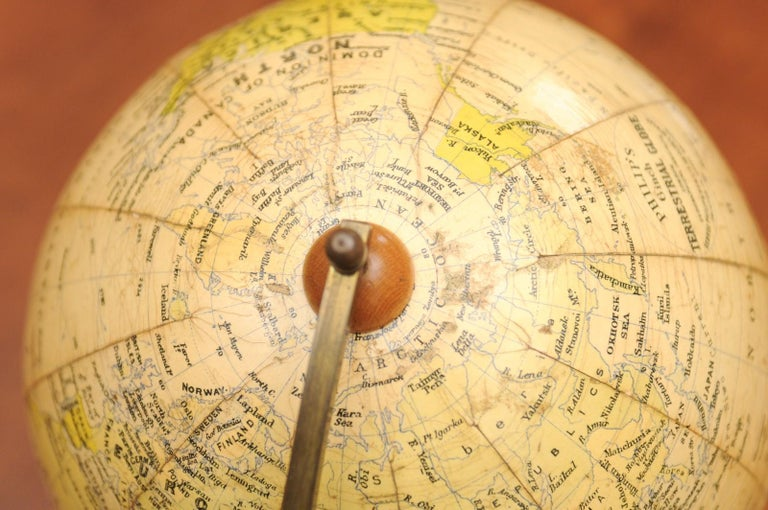 Small English 20th Century George Philip Terrestrial Globe on Wooden Base For Sale 11