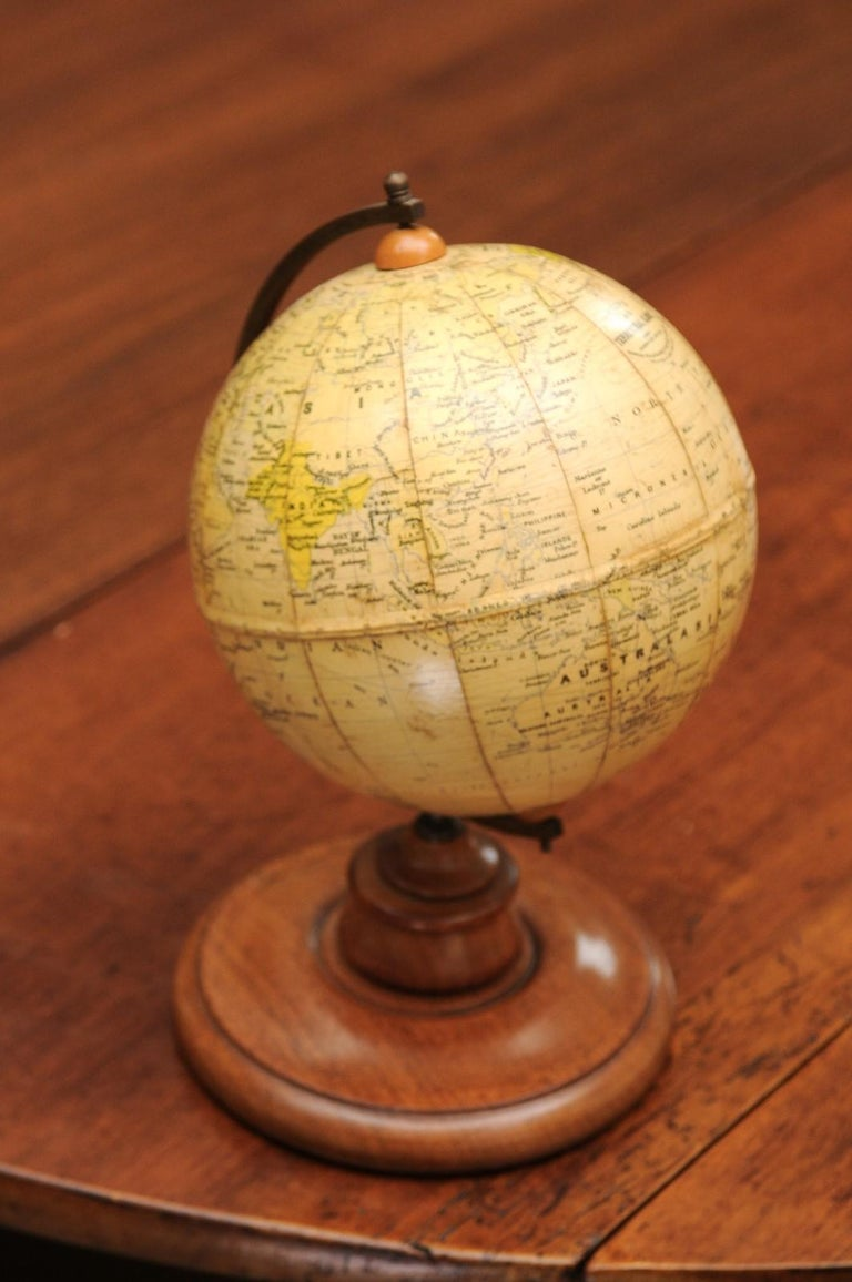 Small English 20th Century George Philip Terrestrial Globe on Wooden Base For Sale 1