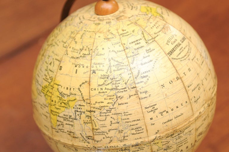 Small English 20th Century George Philip Terrestrial Globe on Wooden Base For Sale 2