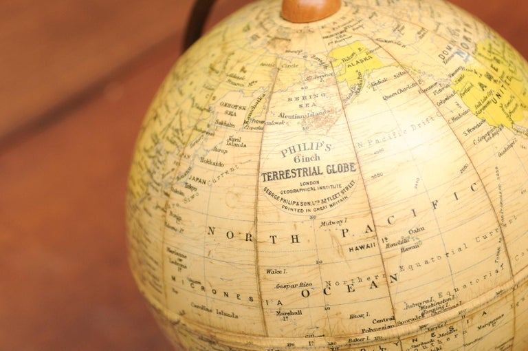 Small English 20th Century George Philip Terrestrial Globe on Wooden Base For Sale 3