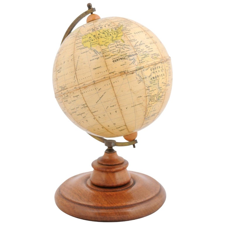 Small English 20th Century George Philip Terrestrial Globe on Wooden Base For Sale