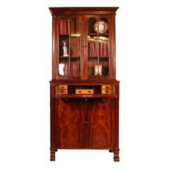 Small English Bookcase with Secretaire from the 19th Century in Mahogany