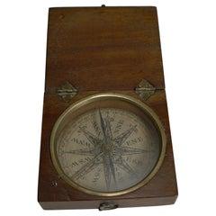 Small English Georgian Pocket Compass circa 1800 in Mahogany Case