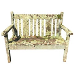 Small English Lichen-Encrusted Teak Bench