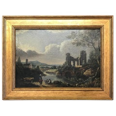 """Small English Oil on Canvas """"Ruins"""""""