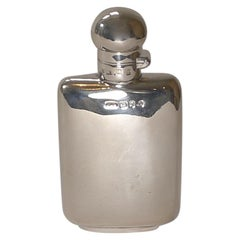 Small English Victorian Silver Spirit Flask / Hipflask, 1897