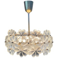 Small Ernst Palme Floral Glass Chandelier