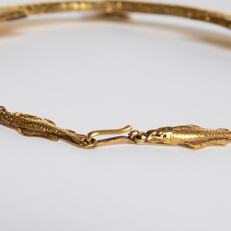 Gilt Small Fish Will Become Big, Gilded Bronze Necklace, Line Vautrin 'France' For Sale