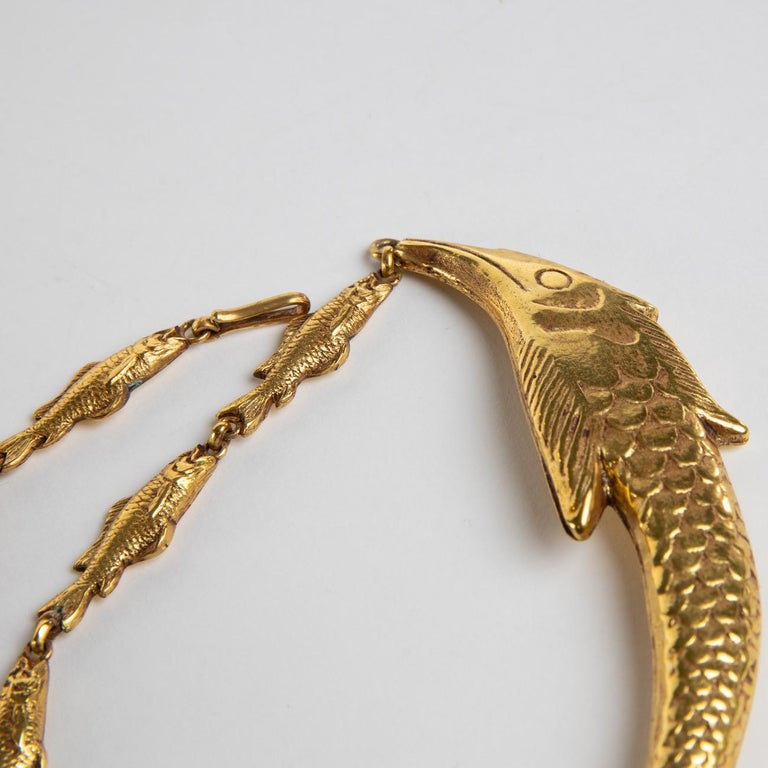 Small Fish Will Become Big, Gilded Bronze Necklace, Line Vautrin 'France' For Sale 1