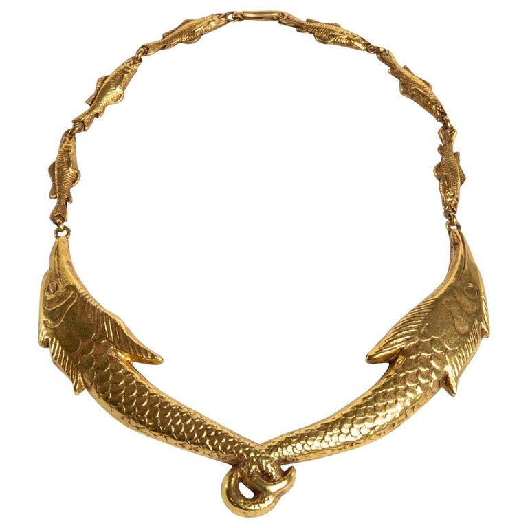 Small Fish Will Become Big, Gilded Bronze Necklace, Line Vautrin 'France' For Sale