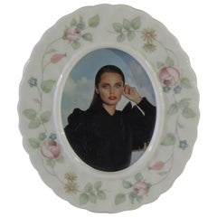 Small Floral Oval Porcelain Picture Frame