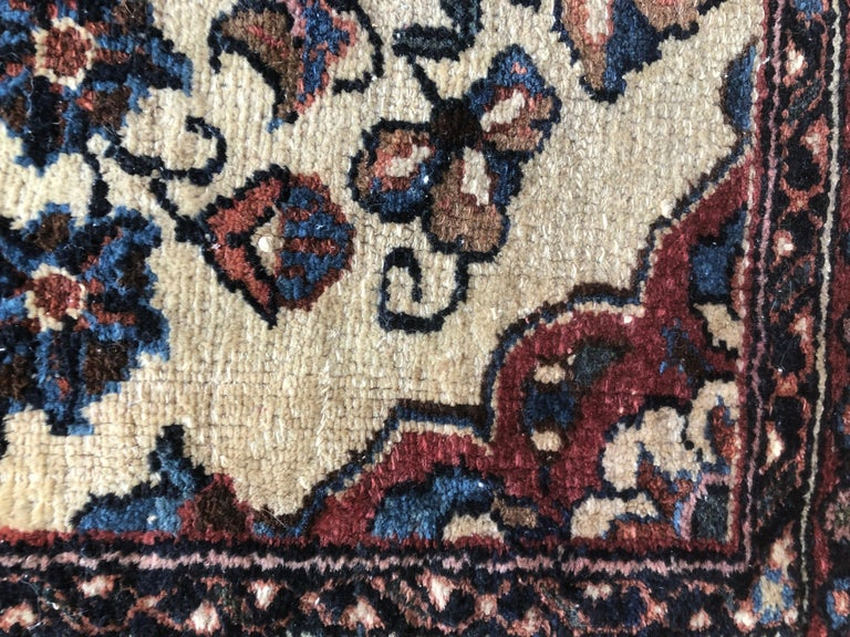 Small Floral Persian Rug Fine Wool For Sale 8