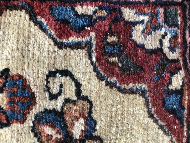 Small Floral Persian Rug Fine Wool For Sale 9