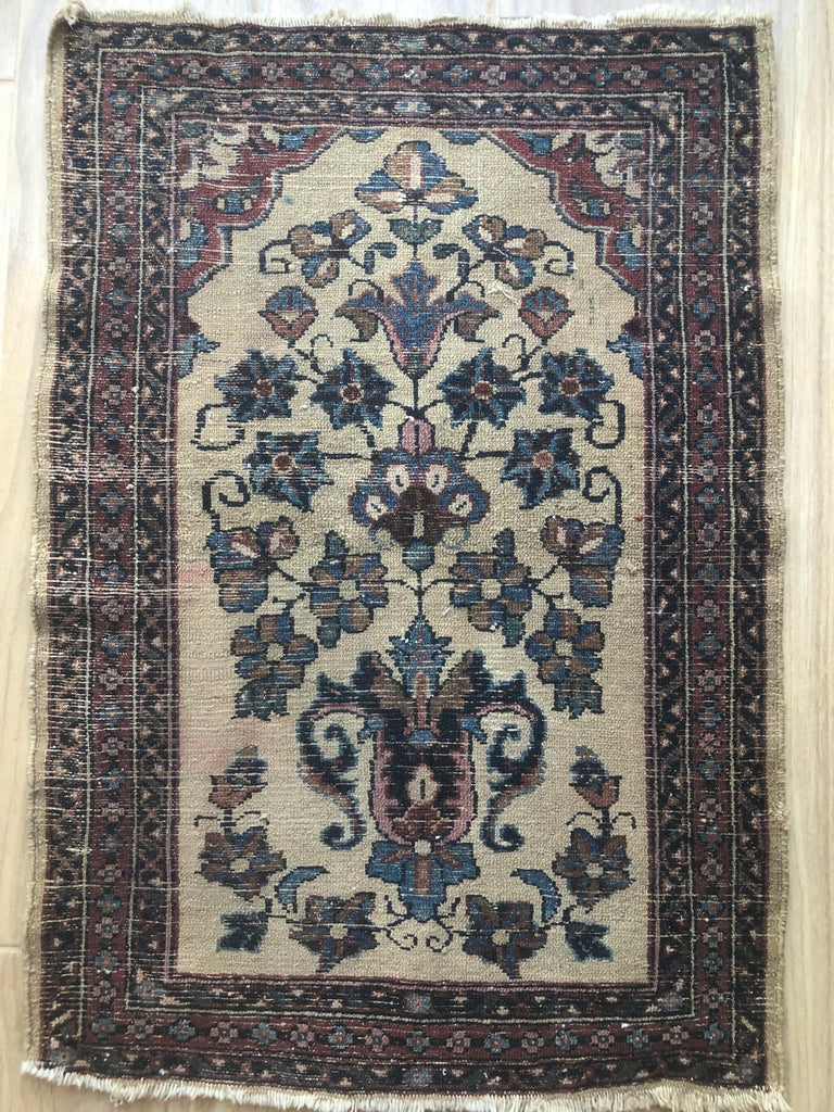 Small Floral Persian Rug Fine Wool For Sale 10