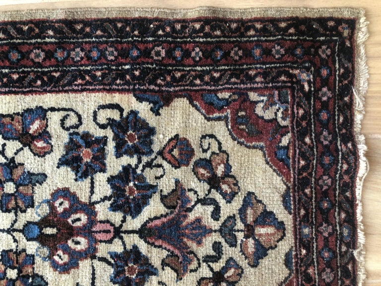 Hand-Woven Small Floral Persian Rug Fine Wool For Sale