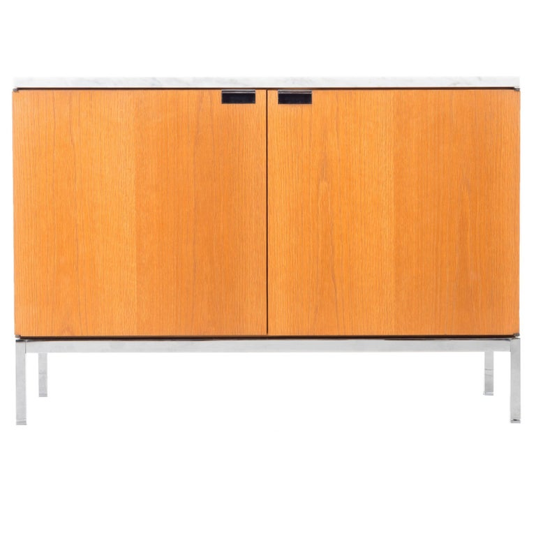 Small Florence Knoll White Oak and Carrara Marble Credenza