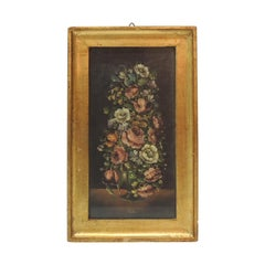 """Small Florentine Framed Painting """"Flemish School of Flowers"""""""