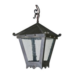 Small Forged Iron Hanging Lantern with Studs