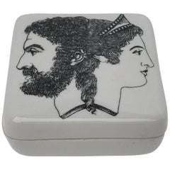 Small Fornasetti Porcelain Jewelry Box with Roman Diety Janus in Profile