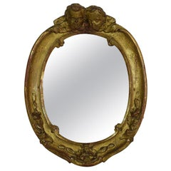 Small French 18th Century Baroque Giltwood Mirror