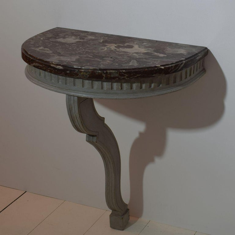 Painted Small French 18th Century Marble-Top Console Table For Sale