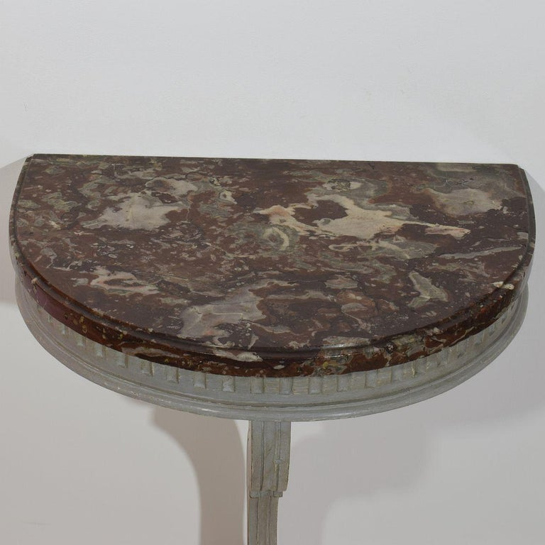 Small French 18th Century Marble-Top Console Table In Good Condition For Sale In Amsterdam, NL
