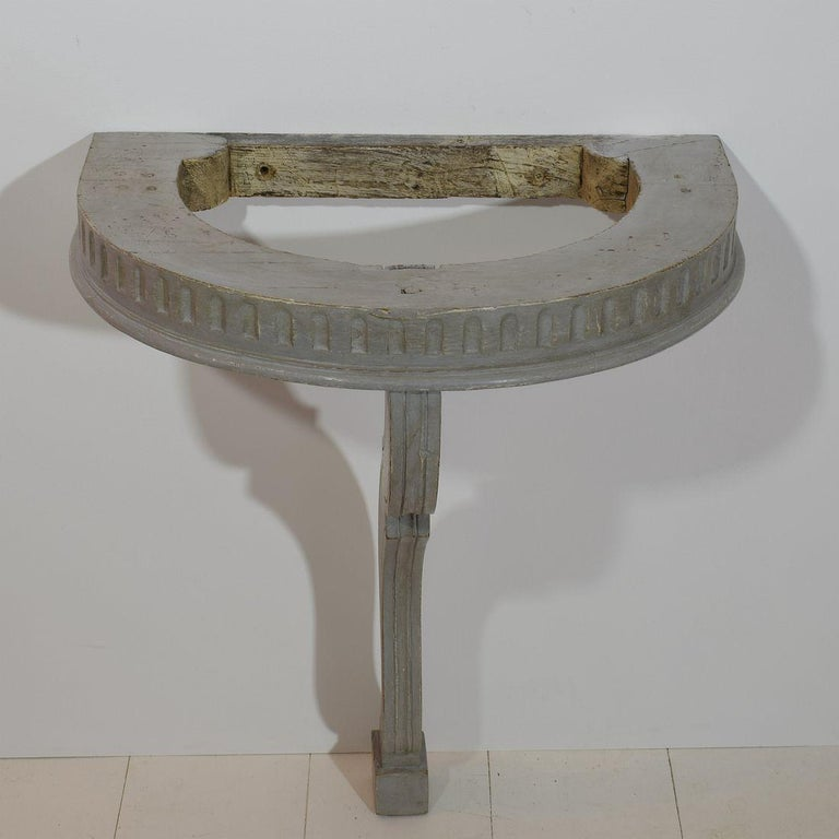 Wood Small French 18th Century Marble-Top Console Table For Sale