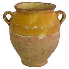 Small French 19th Century Yellow Glazed Ceramic Confit Jar