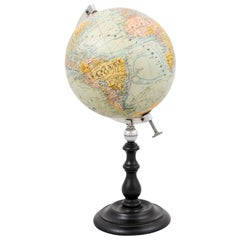 Small French 20th Century Terrestrial Globe on Turned Black Wooden Base
