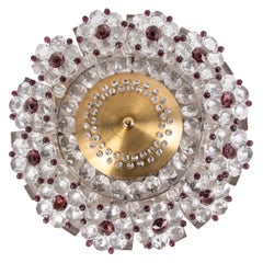 Small French Flush Mount Ceiling Light Amethyst & Clear Crystal, 1940s