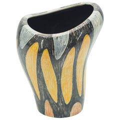 Small French Art Deco Colorful Ceramic Vase, 1940s