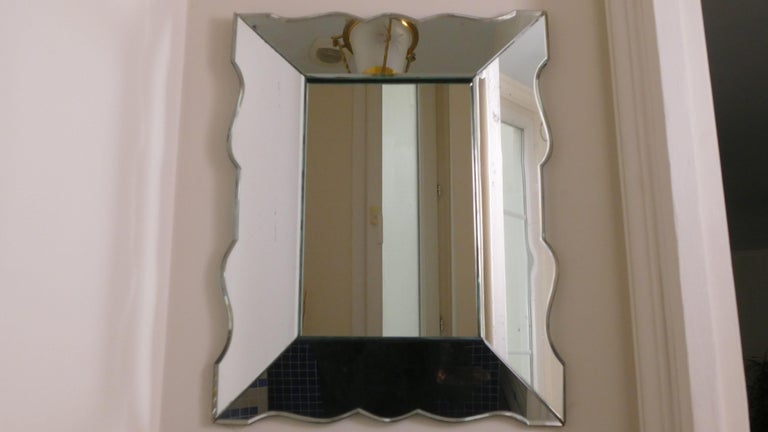 Small French Art Deco Mirror, 1940s In Good Condition For Sale In Paris, FR