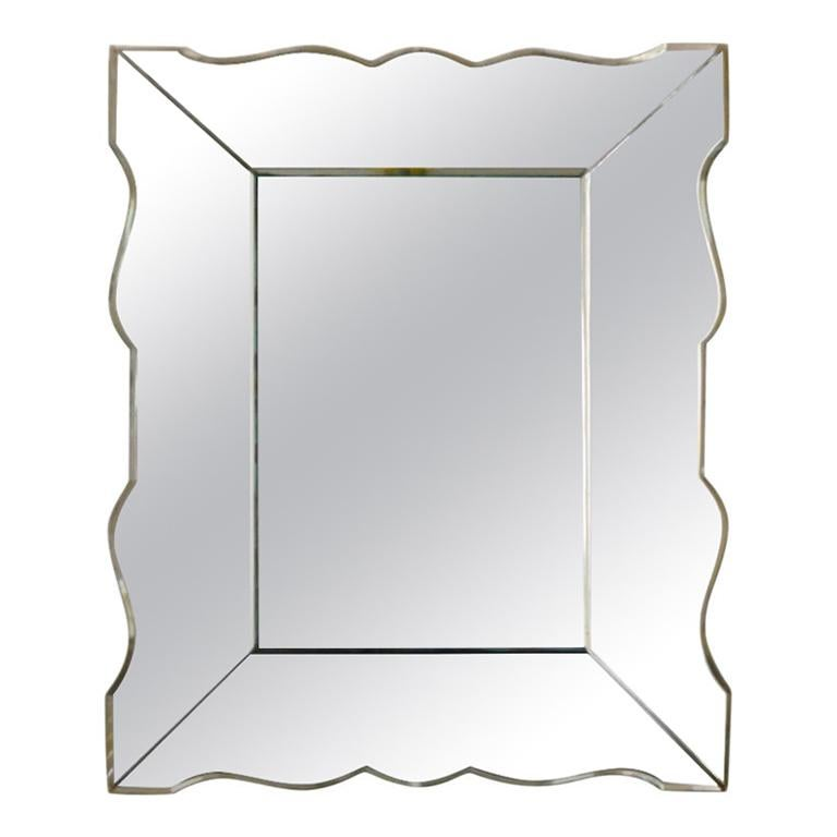 Small French Art Deco Mirror, 1940s For Sale