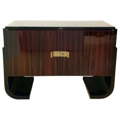Small French Art Deco Sideboard, Macassar and Black Lacquer, 1930s