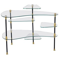 Small French Brass and Glass Etagere with Multiple Shelves