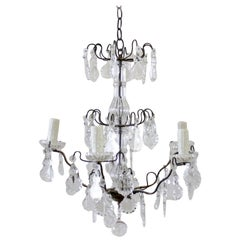 Small French Bronze Style Chandelier with Crystals