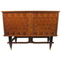 Small French Cabinet in Palisander with Marquetry and Parquetry Detail