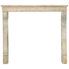 Small French Country Vintage Fireplace Surround in Multi-Color Limestone