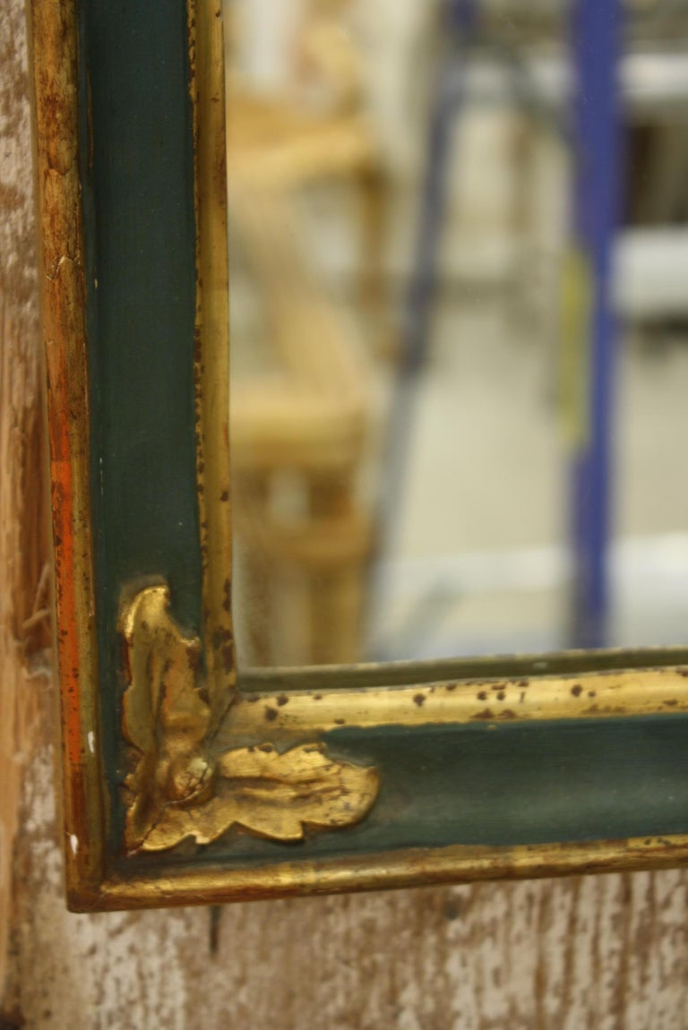 Small French Directoire Style Green Painted and Parcel Gilt Trumeau Mirror For Sale 5