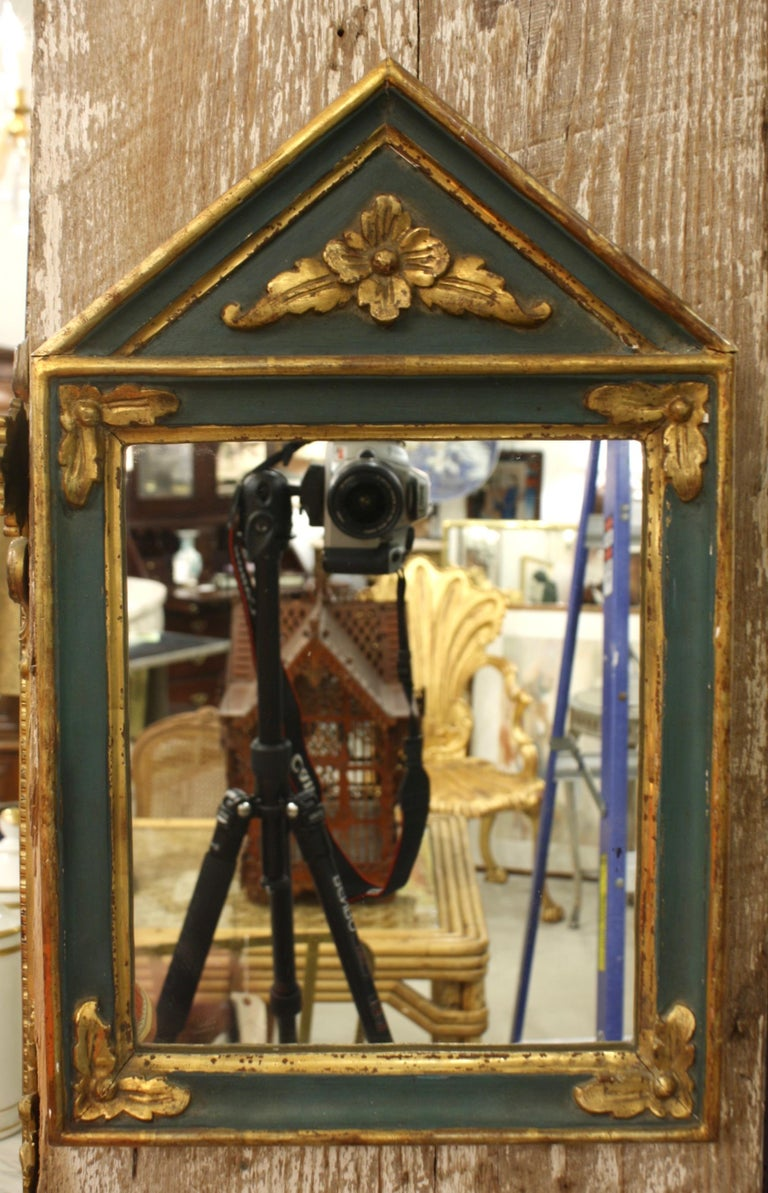 Polychromed Small French Directoire Style Green Painted and Parcel Gilt Trumeau Mirror For Sale