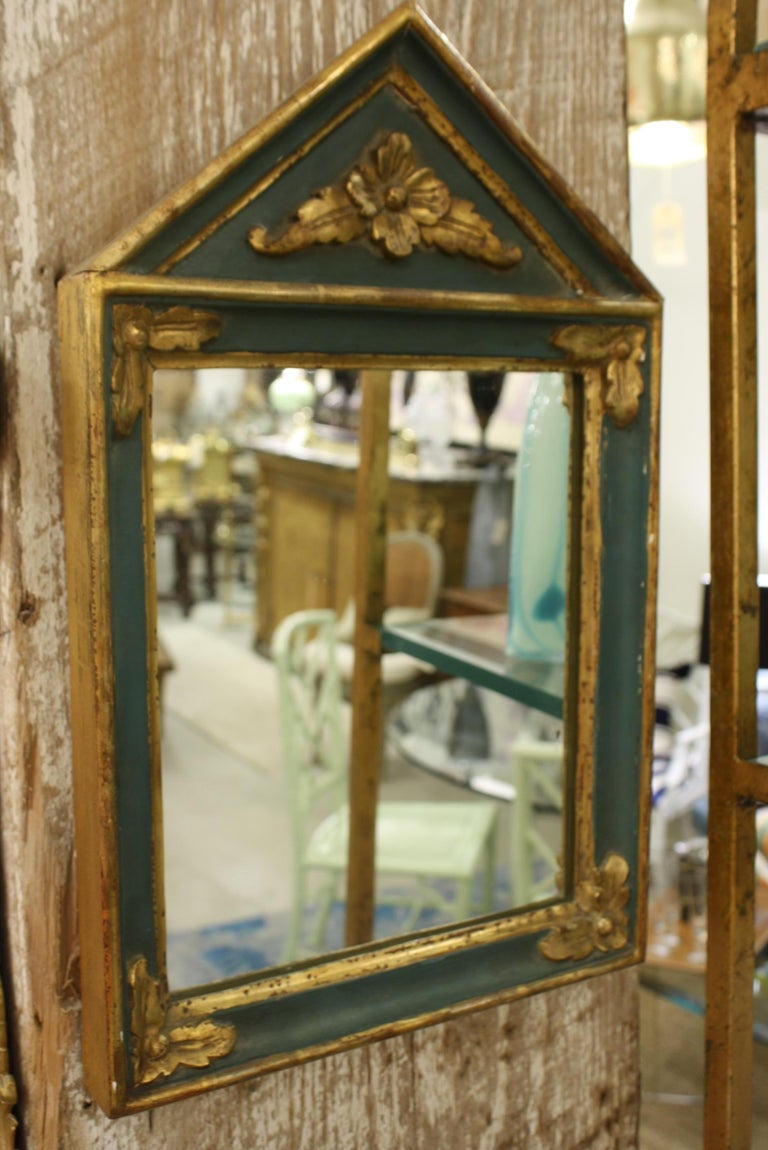 20th Century Small French Directoire Style Green Painted and Parcel Gilt Trumeau Mirror For Sale