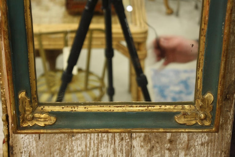 Small French Directoire Style Green Painted and Parcel Gilt Trumeau Mirror For Sale 1