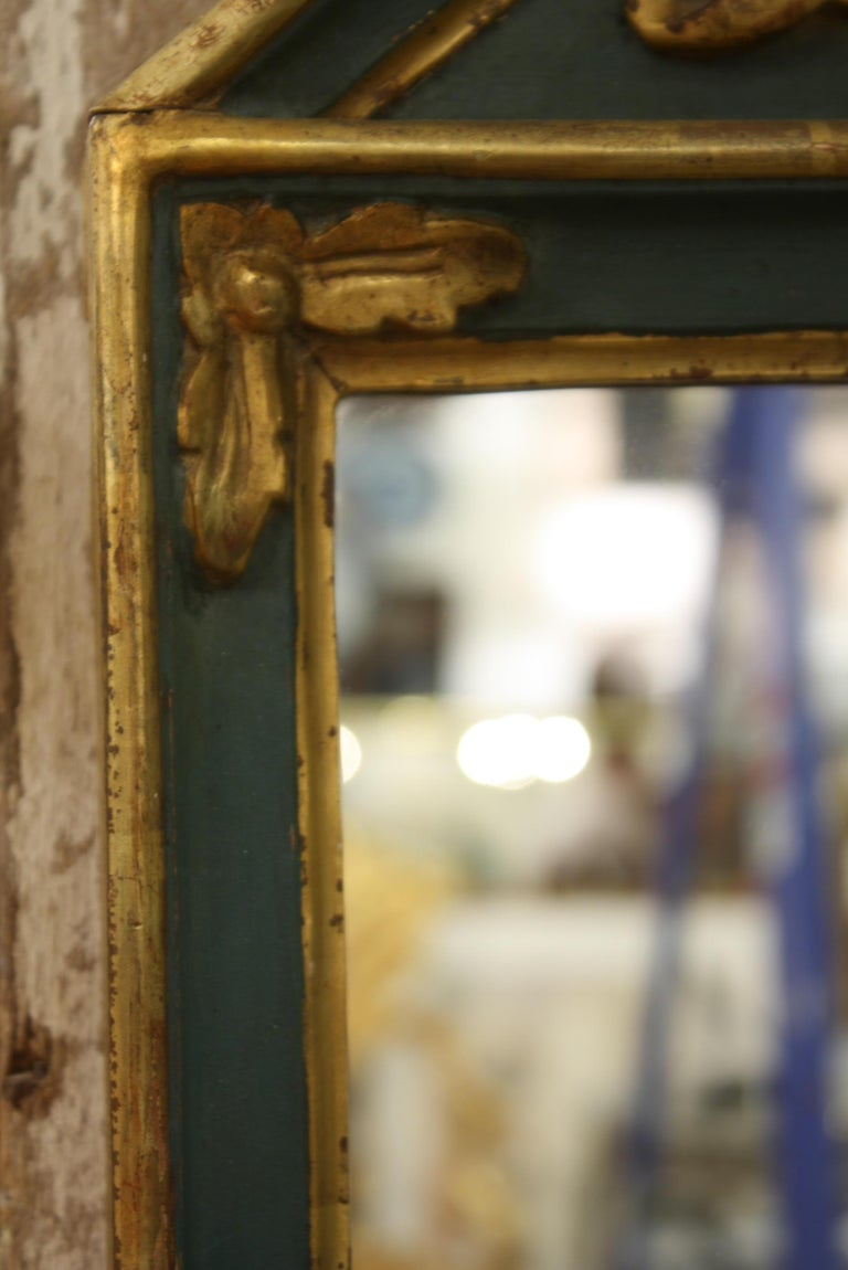 Small French Directoire Style Green Painted and Parcel Gilt Trumeau Mirror For Sale 4