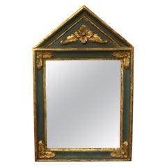 Small French Directoire Style Green Painted and Parcel Gilt Trumeau Mirror
