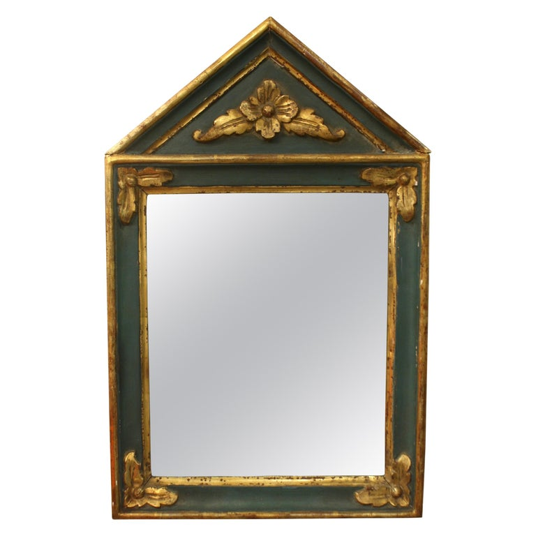 Small French Directoire Style Green Painted and Parcel Gilt Trumeau Mirror For Sale