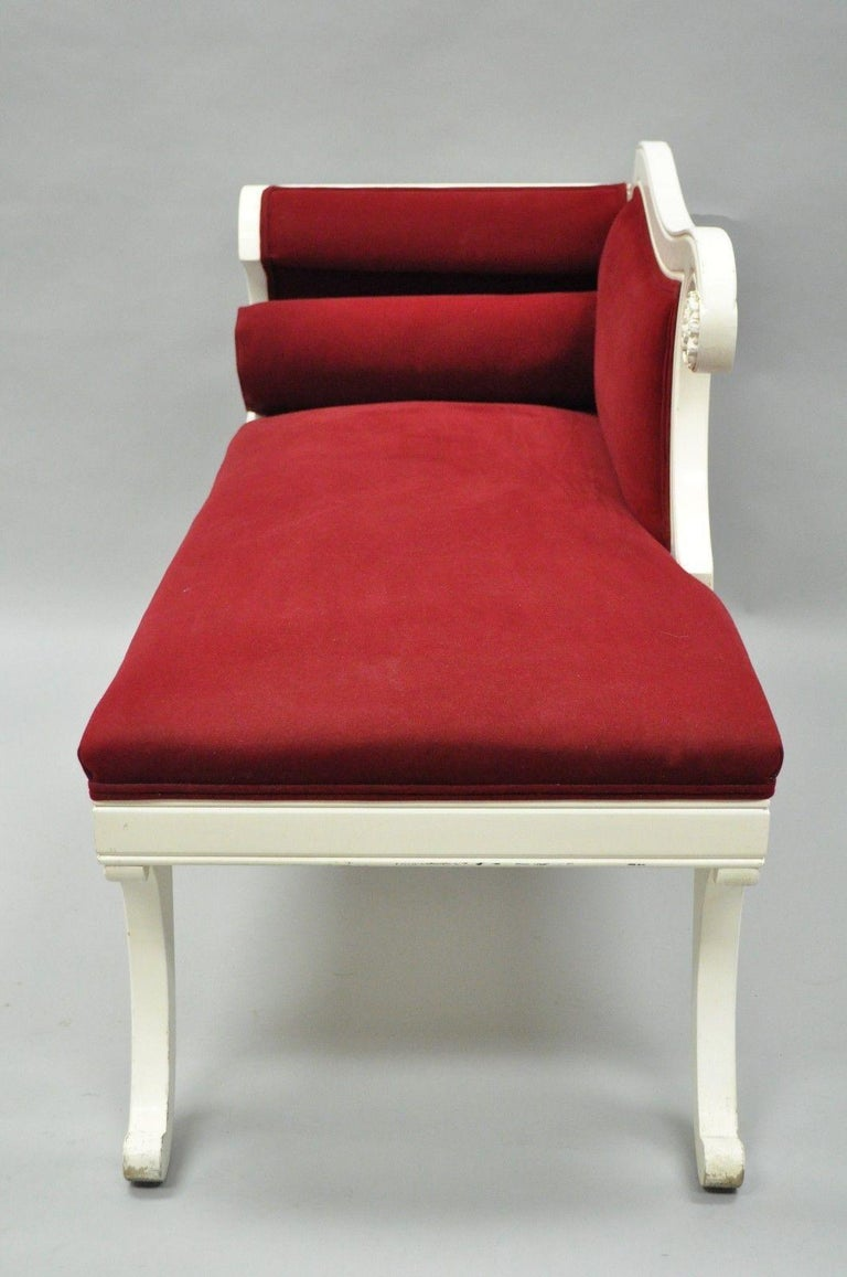 Small French Empire Style Carved Wood Red White Chaise